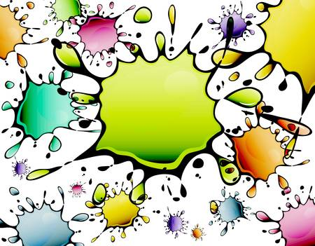 inkblots: Different color inkblots, abstract background, vector illustration