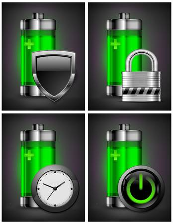 polarity: Energy battery icon with different symbol on green, recycling concept, vector illustration Illustration
