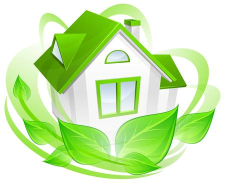immovable property: Ecology protection, model of house with green circle, environment concept, vector illustration
