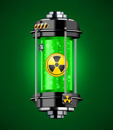 energy conservation: Container of nuclear energy in green color, vector illustration