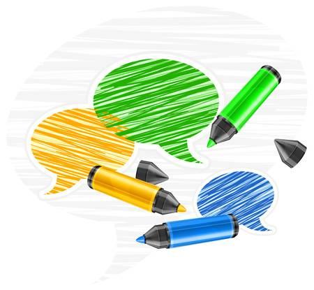 punta: Set del terzo round discorso colore finale bolle di pennarelli su bianco, illustrazione vettoriale Vettoriali