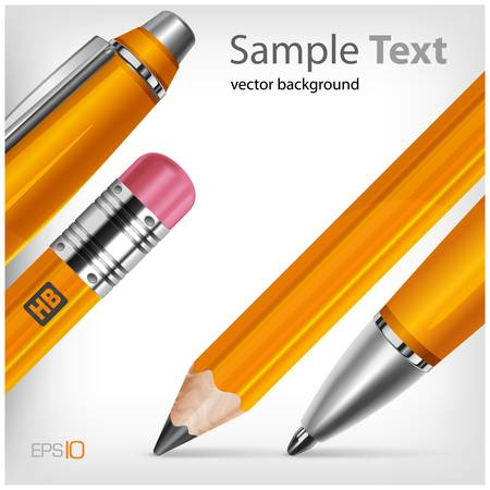 Pen & pencil isolated with text on white background,  Çizim