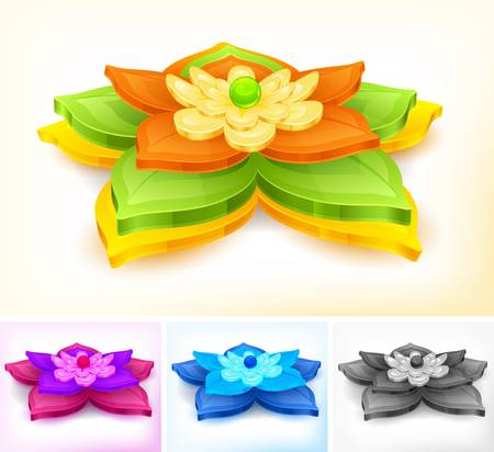 nenuphar: Water lily and green leaves isolated on white, vector illustration