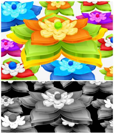 water lilies: Lirios color del agua y el fondo de hojas verdes