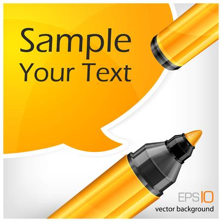 Yellow speech bubble end felt tip pen with text, isolated on white Stock Vector - 15561574