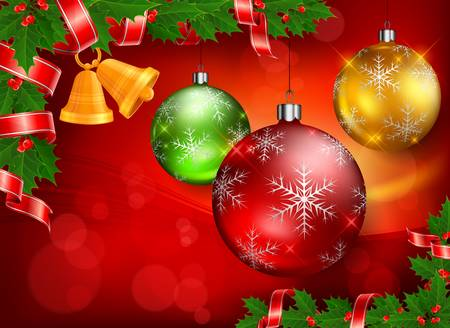 Christmas color baubles, bells and holly berry on red background Vector