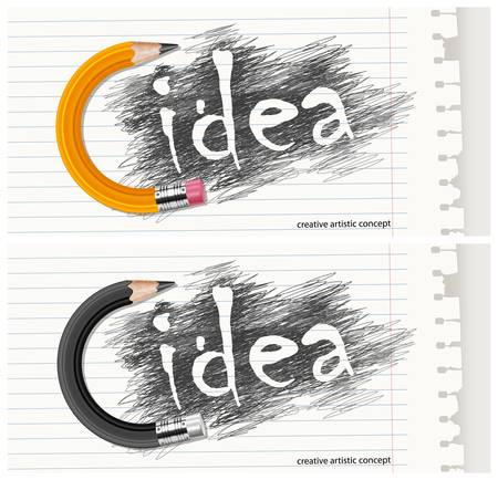 Hand drawn word idea on scribbled background with circle pencil   text