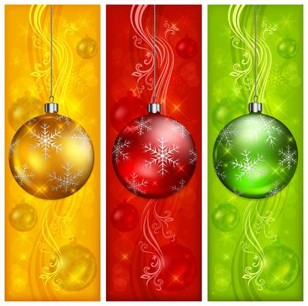 christmas ball: Christmas balls on three color floral background Illustration