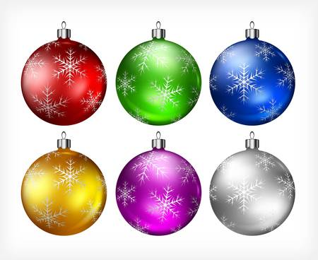 christmas baubles: Christmas color baubles isolated on white background Illustration