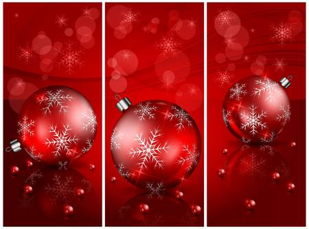 Three Christmas background with balls and beads in red, vector illustration Stock Vector - 16040095
