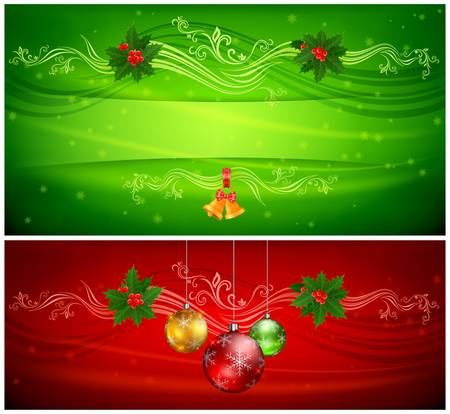 Balls, bells and holly berry on red and green floral background & text, vector illustration  Vector