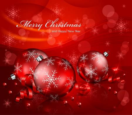 Christmas background with balls and beads & text, vector illustration Stock Vector - 16399590