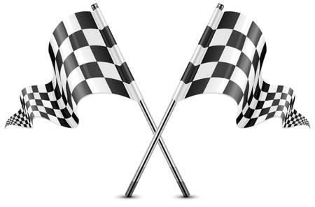 cuadros blanco y negro: Dos cruzaron banderas a cuadros aislados en blanco, ilustración vectorial Vectores