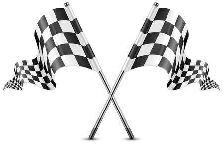 Two crossed checkered flags isolated on white, vector illustration