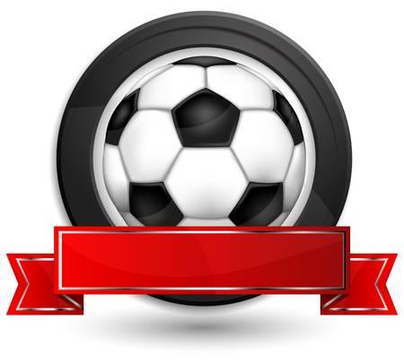 fita: Etiqueta redonda com fita e futebol (soccer) bola no fundo branco, ilustra