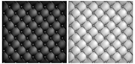 acolchado: Blanco y fondo negro tapicer�a de cuero, ilustraci�n vectorial Vectores
