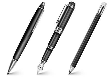 ball pens stationery: Lápiz negro, lápiz, pluma estilográfica aislados en blanco, ilustración vectorial