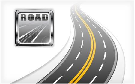 long road: square road icon with text and long highway, vector illustration