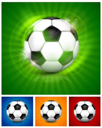 footie: Black-and-white leather football  soccer  ball, isolated on color bacground, illustration Illustration