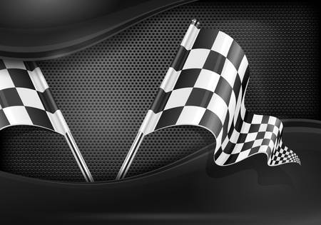 Two crossed checkered flags on mash background, illustration Vector