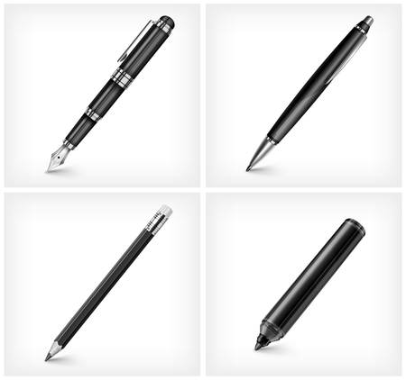 ball pen: Black pen, pencil, highlighter   fountain pen isolated on white, illustration Illustration