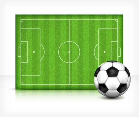 footie: Football  soccer  field stadium with ball on green grass, illustration Illustration