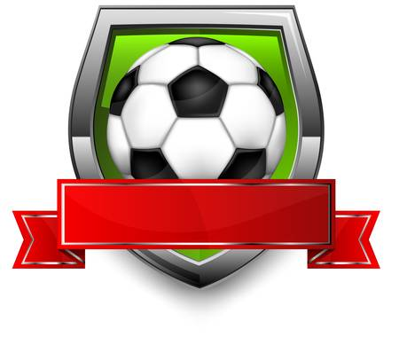 Shield  with ribbon and football  soccer  ball on white background, illustration  Vector