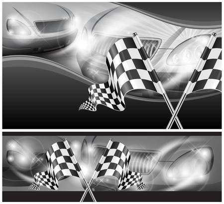 two crossed checkered flags: Two crossed checkered flags on auto background, vector illustration