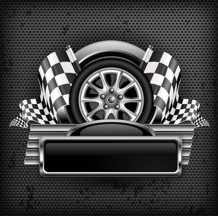 racing checkered flag crossed: Racing emblem, crossed checkered flags, wheel & text on black, vector illustration