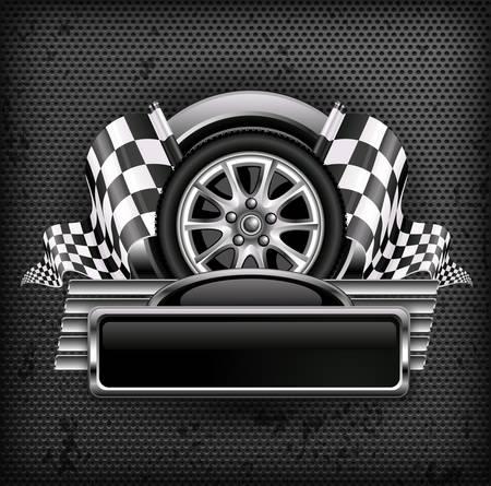 Racing embleem, gekruiste geruite vlaggen, wiel & tekst op zwart, vector illustratie