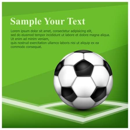 footie: Black-and-white leather football (soccer) ball on corner of field and text, vector illustration Illustration