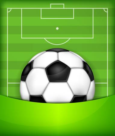 footie: Football (soccer) ball on green field background, vector illustration