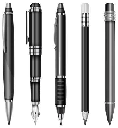 ball pens stationery: Set de bolígrafos y lápices negros aislados en blanco, ilustración vectorial