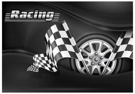 two crossed checkered flags: Two crossed checkered flags and wheel on mash background  text,  illustration