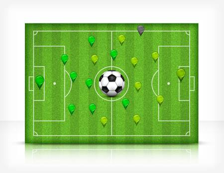 footie: Football (soccer) field stadium with ball on green grass,  illustration Illustration