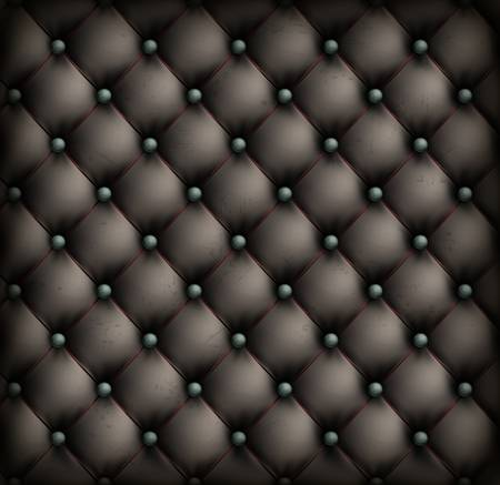 Black vintage leather upholstery background, illustration Vector