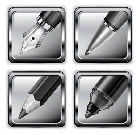 ball pen: Square ball pen, pencil, fountain pen and highlighter icons