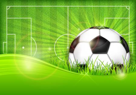 Football (soccer) ball on green field background Vector