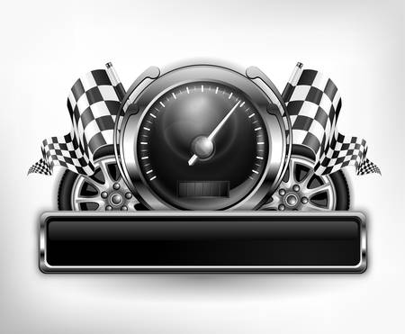 racing checkered flag crossed: Racing emblem, speedometer, checkered flags and wheels on white, vector illustration