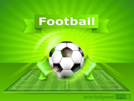 footie: Football  soccer  field stadium with ball on green grass and text, vector illustration