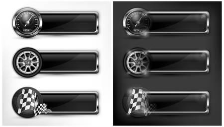 speedometer: Icone di corse, tachimetro, bandiere a scacchi e ruote, illustrazione vettoriale