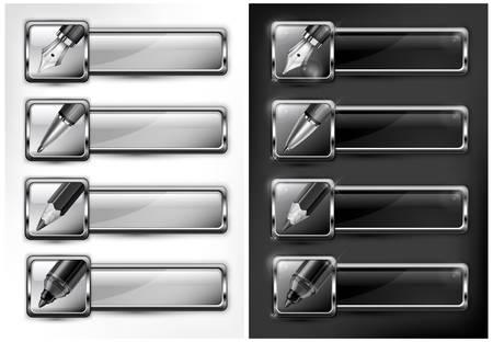 ball pens stationery: Bolígrafo negro y blanco, lápiz, pluma y resaltador de iconos, ilustración vectorial