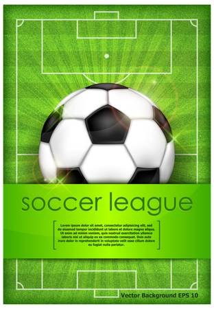 football field: Football  soccer  ball on green field background and text, vector illustration