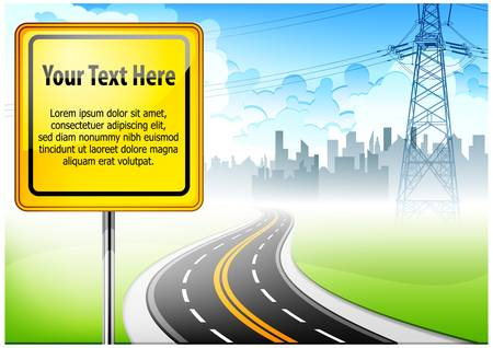 highway sign: Landscape with road sign against highway and city background   text, vector illustration