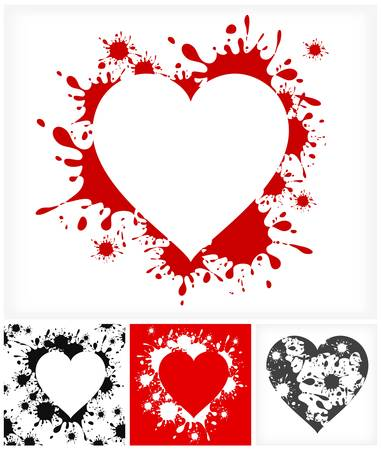 inkblots: Heart silhouettes on inkblots background, Valentines Day illustration