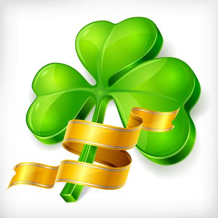 Clover leaf & gold ribbon on white background, vector illustration for St. Patrick's day Stock Vector - 17609371