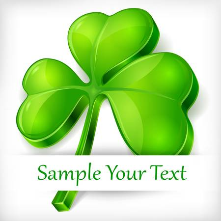 Clover leaf on white background & text, vector illustration for St. Patrick's day Stock Vector - 17609372
