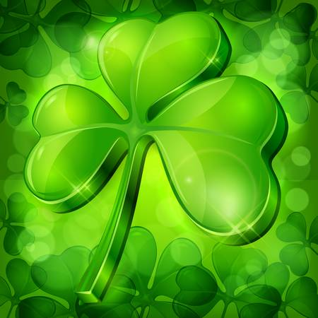 Clover leaf on green background, vector illustration for St. Patrick's day Stock Vector - 17609375