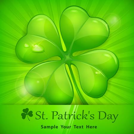 four objects: Four leaf clover on green background, vector illustration for St. Patricks day