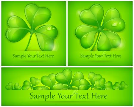 Clover leaves on green background, vector illustration for St. Patrick's day Stock Vector - 17609376